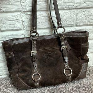 Coach suede & leather shoulder bag